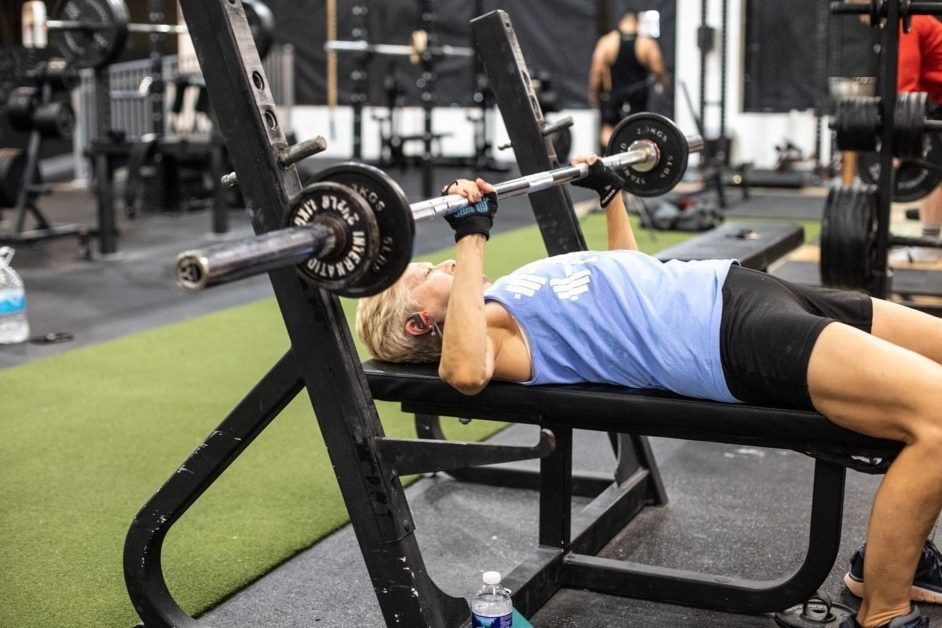 Unleash'd Strength Gym Member Working On Their Bench Press Movement