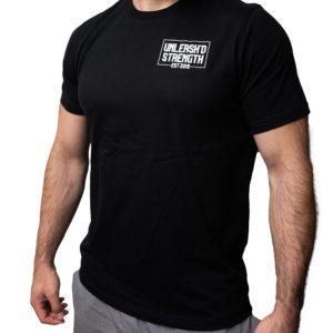 "Joe wearing the ""Strength"" Black Tee Shirt from Unleash'd Strength Gym in Manassas Park VA"