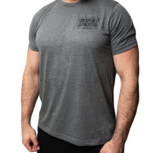 "Joe wearing the ""Strength"" Gray Tee Shirt from Unleash'd Strength Gym in Manassas Park VA"